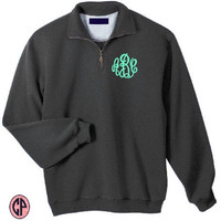 Quarter Zip Sweatshirt Pullover- Monogrammed (Embroidered) UNISEX