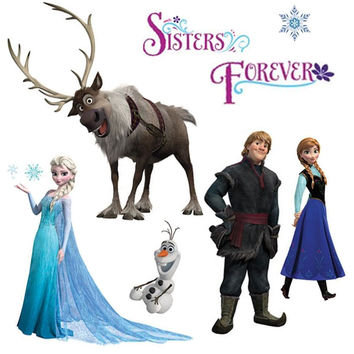 Disney Frozen Wall Stickers Snow Glitter Decals