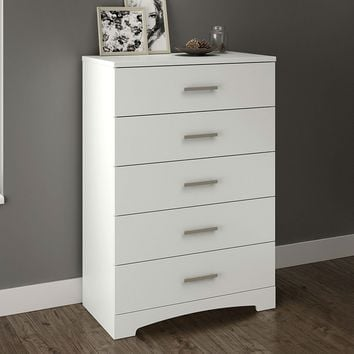 White 5-Drawer Bedroom Chest with Brushed Nickel Finish Handles