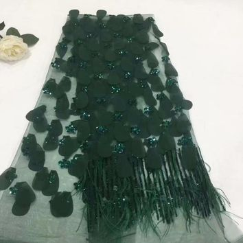 African french feather lace fabric high quality tulle fabric Latest african laces 2018 For nigerian wedding dress