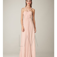 LM Collection - Pale Pink Gathered Chiffon Beaded Back Prom Dress