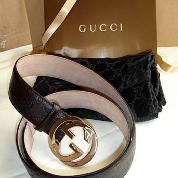 Gucci® Signature Logo Embossed Leather Belt 100/40 Chocolate Brown