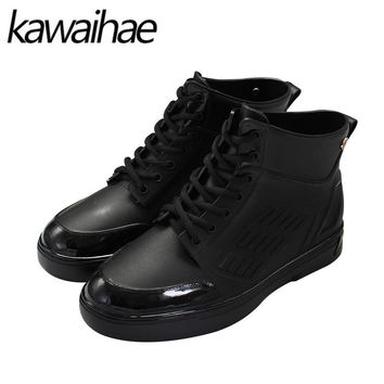 2017 Autumn Winter Waterproof Rainboots PVC Men Rubber Shoes Male Rain Boots Brand Kawaihae 107