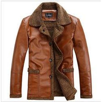 New2014 Winter Fashion Mens Thick Velvet Sheep Wool Men Gunuine Leather Jacket Double-Breasted Lamp Cashmere Coat Fur Coat D1272