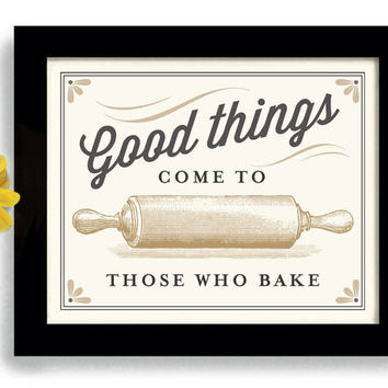 Baker Gift Kitchen Art Print Rolling Pin Bakery Sign Homemade Cooking