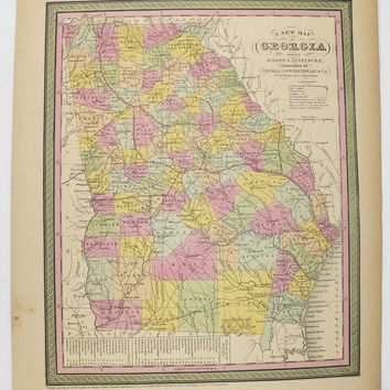 Antique Map Georgia 1852 Mitchell Georgia Map, Southern State GA Map, 1st Anniversary Gift for Couple, Historical Map Art, Georgia Gift