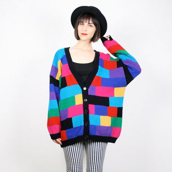 Vintage 80s Sweater New Wave Rainbow Knit Color Block Geometric Jumper V Neck Cardigan Mod Oversized Sweater Cosby Sweater L XL Extra Large