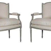 French Louis XVI-Style Armchairs, S/2
