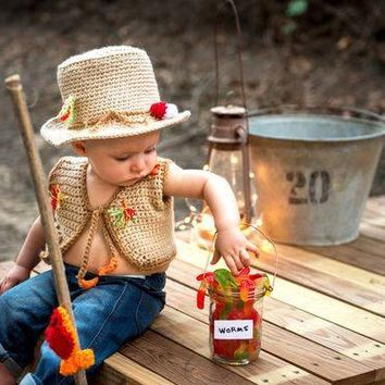 Fishing Baby Outfit - Baby Fishing Outfit - Fishing Hat - Crochet Fishing Hat - Fishing Photo Props - Fishing Outfit - Photo Prop - Fishing