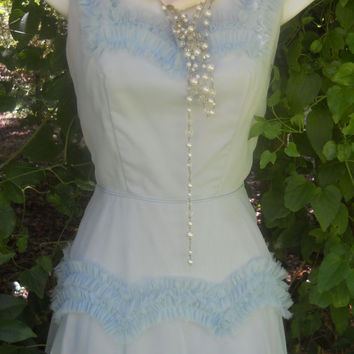 SALE Ruffle 1950s dress pale powder blue full by vintageopulence