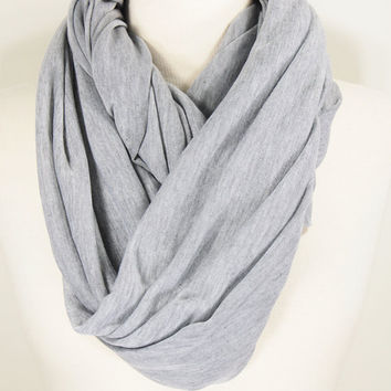 Grey Color Infinity Scarf . Soft and Warm Scarf. Grey Cotton Scarf.