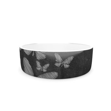 "Snap Studio ""Butterflies IV"" White Chalk Pet Bowl"