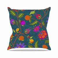 "Laura Nicholson ""Flora Exotica"" Teal Floral Outdoor Throw Pillow"