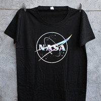 NASA Holographic Black Shirt Size S
