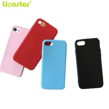 LIONSTAR Phone Case For iPhone 7 7 Plus 6 6S Plus Frosted Candy color Luxury soft Silicone matte TPU Cover For iPhone 5S SE Case