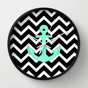 Tiffany Turquoise Anchor Black Zigzag Pattern Wall Clock by RexLambo