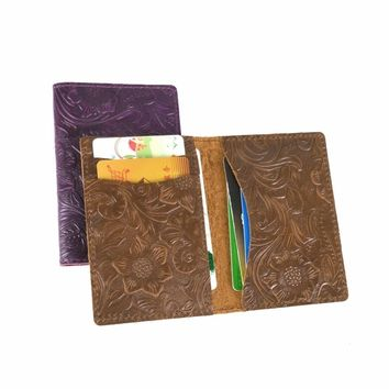 New Arrivals Men Credit ID Card Holders Rustic Flower Embossed Leather Customized Business Unisex Slim Wallet Cardholder