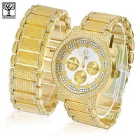 Jewelry Kay style Men's Hip Hop Iced Out CZ Bling Heavy Metal Band Watch & Bracelet SET  WM 8478 G