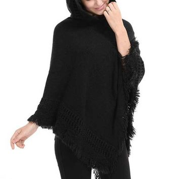 2017 Autumn Winter Warm Poncho Sweater Women Pullover Loose Knitted Sweater Female Hooded Women Oversized Sweater Poncho Shawls