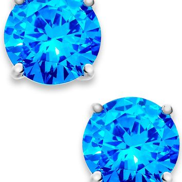 B. Brilliant Aqua Cubic Zirconia Round Stud Earrings in Sterling Silver (4 ct. t.w.)