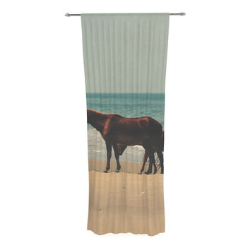 "Robin Dickinson ""Sandy Toes"" Beach Horses Decorative Sheer Curtain"