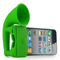 Generic New Silicone Horn Stand Holder Audio Dock Amplifier Music Speaker for Iphone 4 4s 3gs Green
