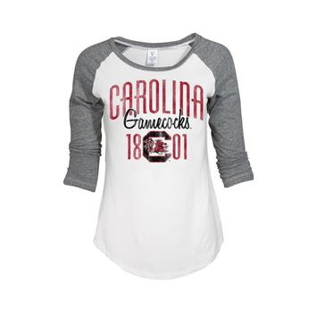 White Official NCAA University Of South Carolina Fighting Gamecocks Usc Cocky Sc Women's 3/4 Baseball Raglan T-Shirt