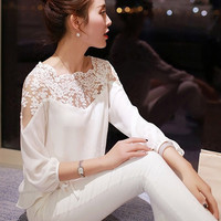 Puff Sleeve Lace Embroidered Chiffon Blouse