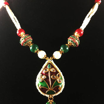 Eastern Indian Mod Green Red Gold White Beaded Statement Necklace, Faux Ruby and Emerald Bollywood Style Choker, Eastern Asia Jewelry