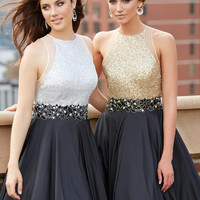 Madison James Gold Sequin Prom Dress 15-187