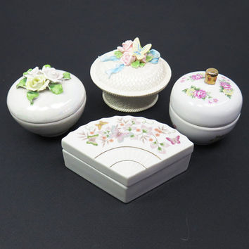 Unique wedding favors bridal party favors - Floral ceramic trinket boxes jewelry boxes - Cottage chic decor - Mothers day gifts (Set of 4)