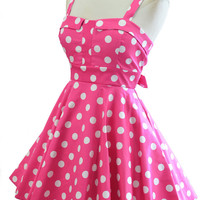 fold over bust sun dress - pink & white polka dot | le bomb shop