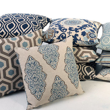 12 Sizes Available: Indigo Decorative Throw Pillow Cover Choose from 8 Fabrics 16x16 18x18 20x20 22x22 inches