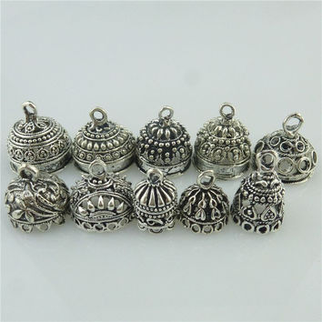 Free shipping 10X Mix Vintage Leaves Flower Heart Round Beads Cap Filigree Pendant Tassel End
