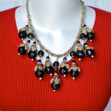 Haskell Faceted Black Bead and Faux Pearl Seed Bead Bib Necklace Vintage
