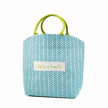 Chit Chat Patterned Jute Tote Bag with Sentiment (Life's A Beach)