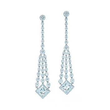 Tiffany & Co. -  Diamond chandelier earrings of princess-cut and round diamonds in platinum.
