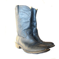 Black Leather Work Boots Hand Made Vintage Men's 9 Boots