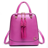 Tassel Multifunctional Leather Backpack