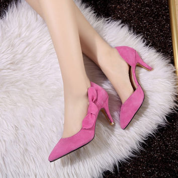 Summer Leather Butterfly Pointed Toe High Heel Shoes [4919872196]