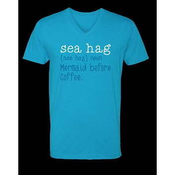Sassy Frass Sea Hag Mermaid Before Coffee Bella Canvas V-Neck Bright Girlie T Shirt