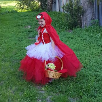 Halloween Kid Child Girl Cosplay Costume Carnival Suit Party Costume Dress+cloak Red Riding Hood Costumes Child