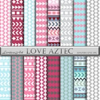 "Aztec digital paper: ""LOVE AZTEC"" aztec patterns, tribal backgrounds, sweet,geometric,baby, romantic, digital, triangles.Instant Download"