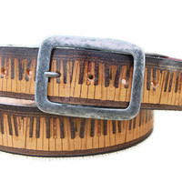 Handmade leather belt - vintage PIANO KEYBOARD - black