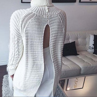 Fashion backless hollow out knit sweater