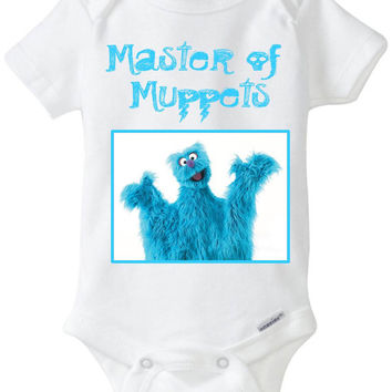 """Funny Baby Gift: Embellished Gerber Onesuit brand body suit - """"Master of Muppets"""" Metallica Band / 80's Metal"""