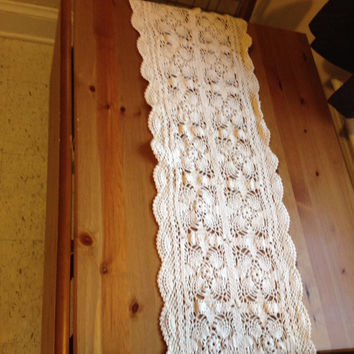Table runner - Handmade Crochet Ivory Lace Dresser Runner 37 x 11
