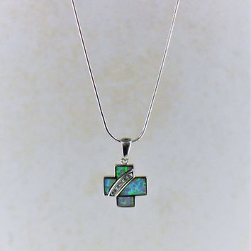 Blue Fire Opal and Crystals Cross Pendant Necklace in Sterling Silver