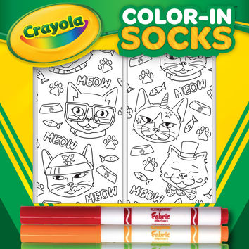 Color-In Socks Cat Vibes