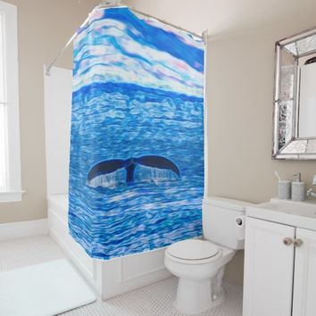 Humpback Whale Tail off the Coast of Maui Hawaii Shower Curtain